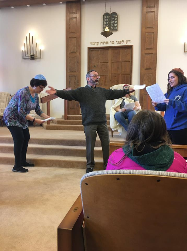 "Students were entertained by the staff-led ""Pesach Spiel"" (Passover skit). It was dramatic, informative, and unexpectedly funny!"